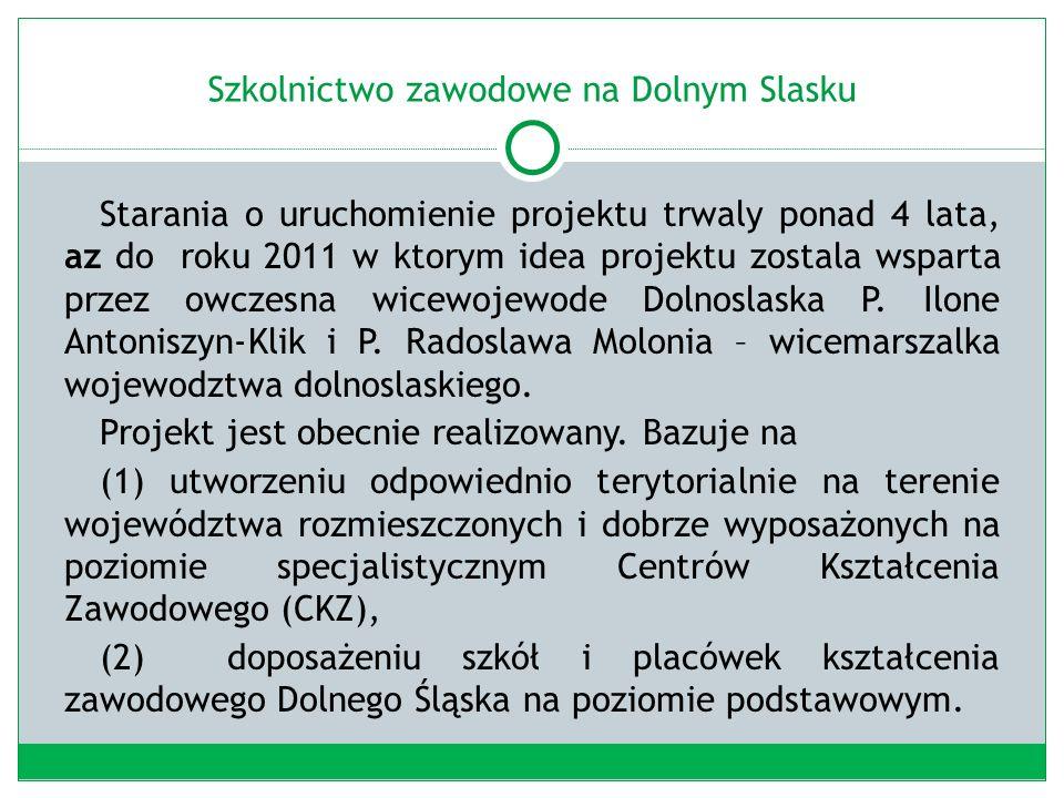 Szkolnictwo zawodowe na Dolnym Slasku Starania o uruchomienie projektu trwaly ponad 4 lata, az do roku 2011 w ktorym idea projektu zostala wsparta przez owczesna wicewojewode Dolnoslaska P.