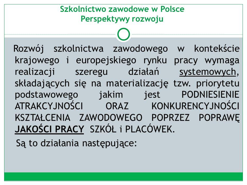 Szkolnictwo zawodowe w Polsce Perspektywy rozwoju Rozwój szkolnictwa zawodowego w kontekście krajowego i europejskiego rynku pracy wymaga realizacji szeregu działań systemowych, składających się na materializację tzw.