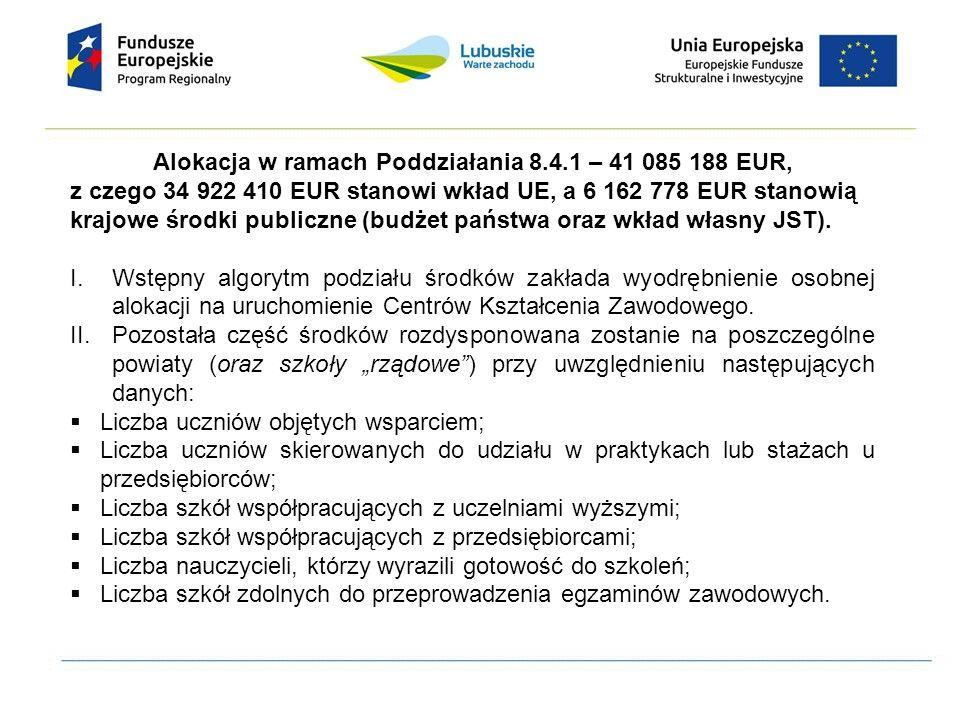 Alokacja w ramach Poddziałania 8.4.1 – 41 085 188 EUR, z czego 34 922 410 EUR stanowi wkład UE, a 6 162 778 EUR stanowią krajowe środki publiczne (bud