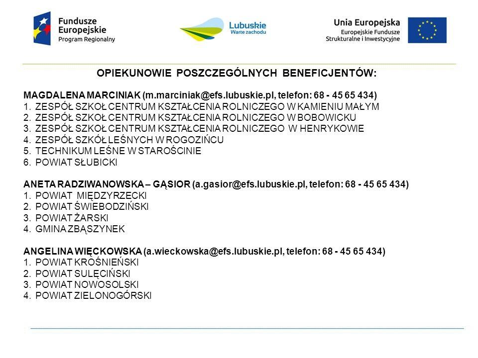 OPIEKUNOWIE POSZCZEGÓLNYCH BENEFICJENTÓW: MAGDALENA MARCINIAK (m.marciniak@efs.lubuskie.pl, telefon: 68 - 45 65 434) 1.ZESPÓŁ SZKOŁ CENTRUM KSZTAŁCENI