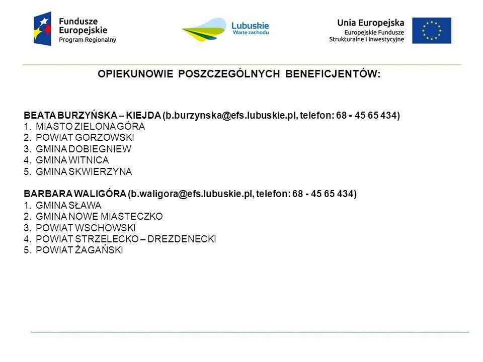 OPIEKUNOWIE POSZCZEGÓLNYCH BENEFICJENTÓW: BEATA BURZYŃSKA – KIEJDA (b.burzynska@efs.lubuskie.pl, telefon: 68 - 45 65 434) 1.MIASTO ZIELONA GÓRA 2.POWI