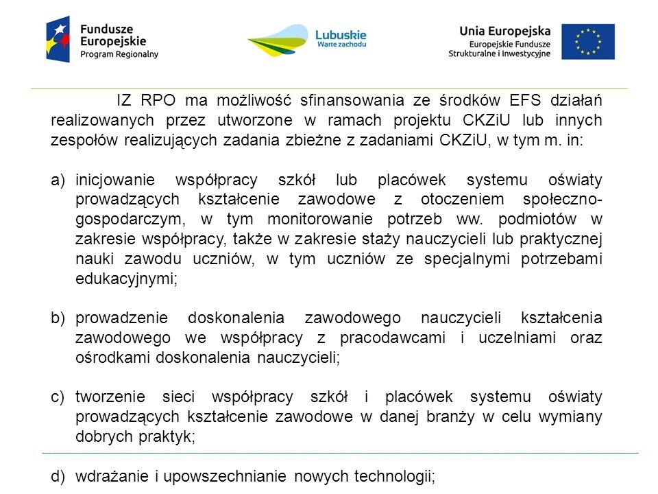 IZ RPO ma możliwość sfinansowania ze środków EFS działań realizowanych przez utworzone w ramach projektu CKZiU lub innych zespołów realizujących zadan