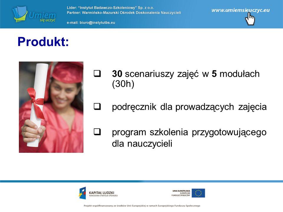  30 scenariuszy zajęć w 5 modułach (30h)  podręcznik dla prowadzących zajęcia  program szkolenia przygotowującego dla nauczycieli Produkt: