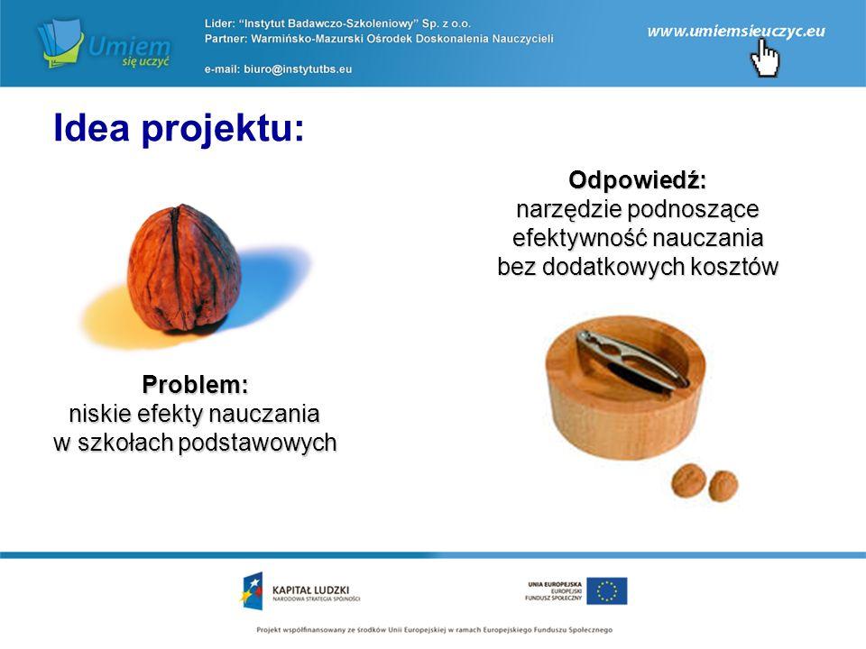 Problem: niskie efekty nauczania w szkołach podstawowych Idea projektu: Odpowiedź: narzędzie podnoszące efektywność nauczania bez dodatkowych kosztów