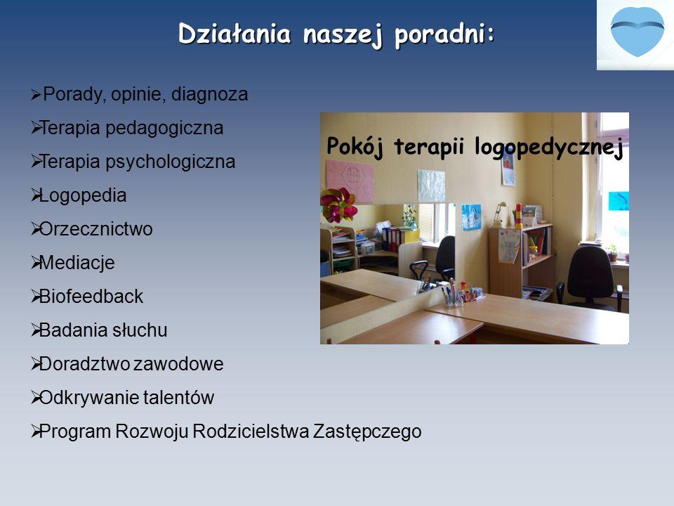 Działania naszej poradni:  Porady, opinie, diagnoza  Terapia pedagogiczna  Terapia psychologiczna  Logopedia  Orzecznictwo  Mediacje  Biofeedba