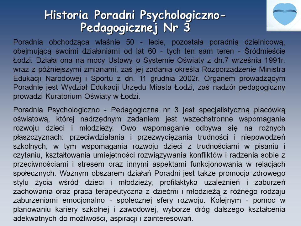 Historia Poradni Psychologiczno- Pedagogicznej Nr 3 Poradnia obchodząca właśnie 50 - lecie, pozostała poradnią dzielnicową, obejmującą swoimi działani