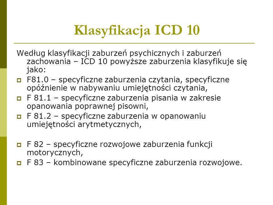 Klasyfikacja ICD 10 Według klasyfikacji zaburzeń psychicznych i zaburzeń zachowania – ICD 10 powyższe zaburzenia klasyfikuje się jako:  F81.0 – specy