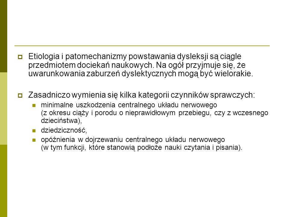  Etiologia i patomechanizmy powstawania dysleksji są ciągle przedmiotem dociekań naukowych. Na ogół przyjmuje się, że uwarunkowania zaburzeń dyslekty