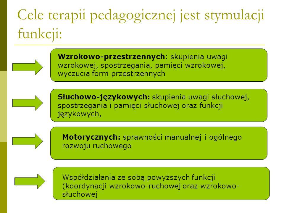 Cele terapii pedagogicznej jest stymulacji funkcji: Wzrokowo-przestrzennych: skupienia uwagi wzrokowej, spostrzegania, pamięci wzrokowej, wyczucia for