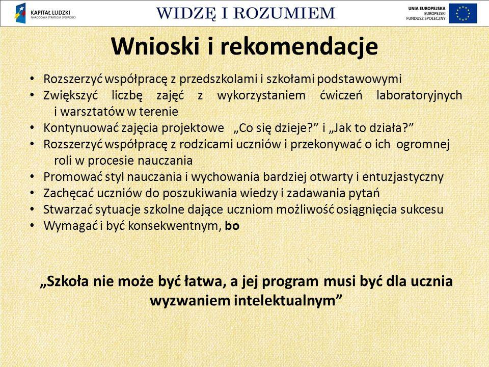 Wnioski i rekomendacje Rozszerzyć współpracę z przedszkolami i szkołami podstawowymi Zwiększyć liczbę zajęć z wykorzystaniem ćwiczeń laboratoryjnych i
