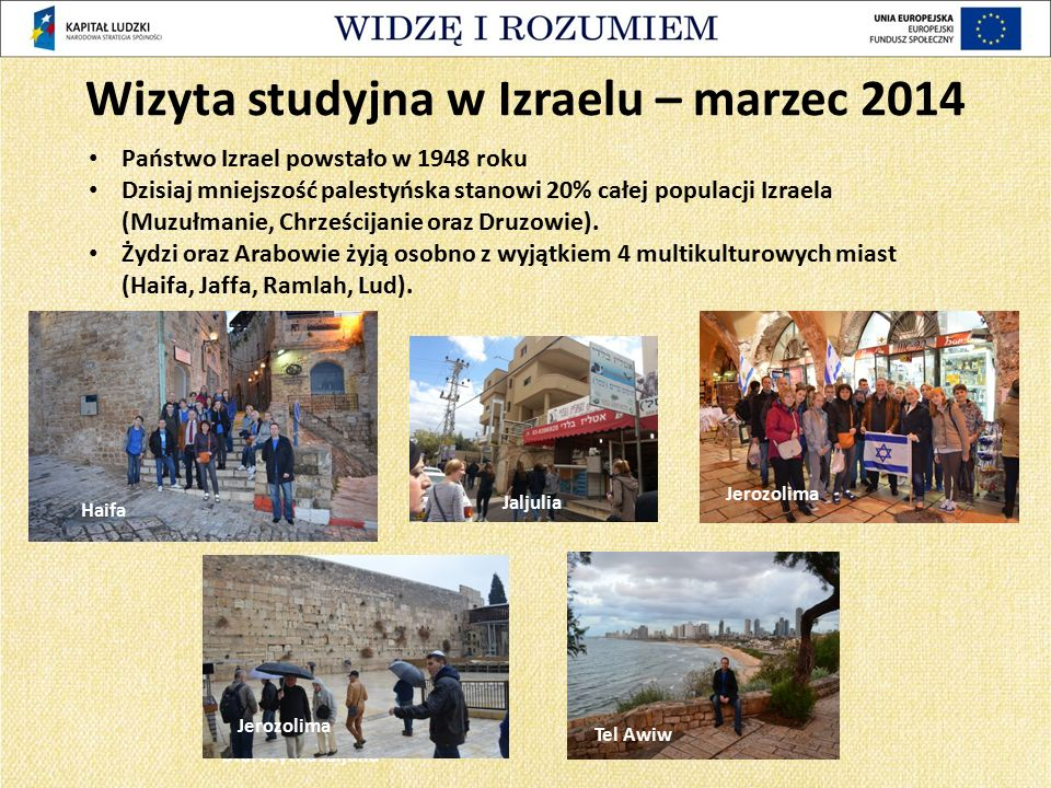 Państwo Izrael powstało w 1948 roku Dzisiaj mniejszość palestyńska stanowi 20% całej populacji Izraela (Muzułmanie, Chrześcijanie oraz Druzowie). Żydz