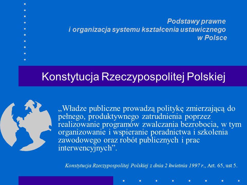 """""""Władze publiczne prowadzą politykę zmierzającą do pełnego, produktywnego zatrudnienia poprzez realizowanie programów zwalczania bezrobocia, w tym organizowanie i wspieranie poradnictwa i szkolenia zawodowego oraz robót publicznych i prac interwencyjnych ."""