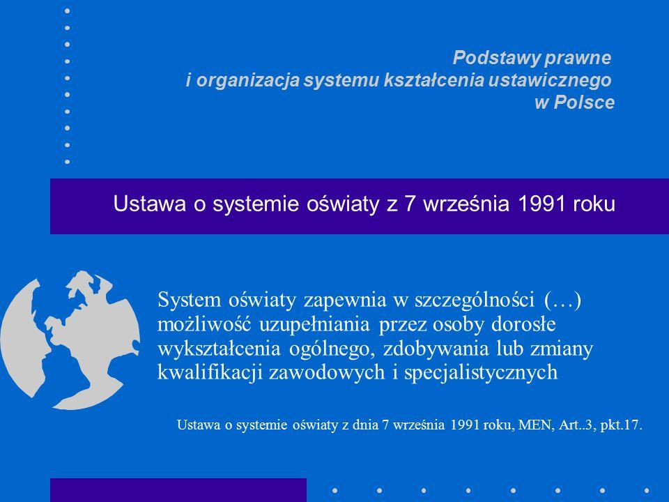 System oświaty zapewnia w szczególności (…) możliwość uzupełniania przez osoby dorosłe wykształcenia ogólnego, zdobywania lub zmiany kwalifikacji zawodowych i specjalistycznych Ustawa o systemie oświaty z dnia 7 września 1991 roku, MEN, Art..3, pkt.17.