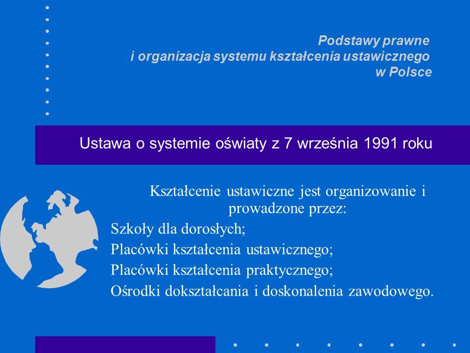 Kształcenie ustawiczne jest organizowanie i prowadzone przez: Szkoły dla dorosłych; Placówki kształcenia ustawicznego; Placówki kształcenia praktycznego; Ośrodki dokształcania i doskonalenia zawodowego.