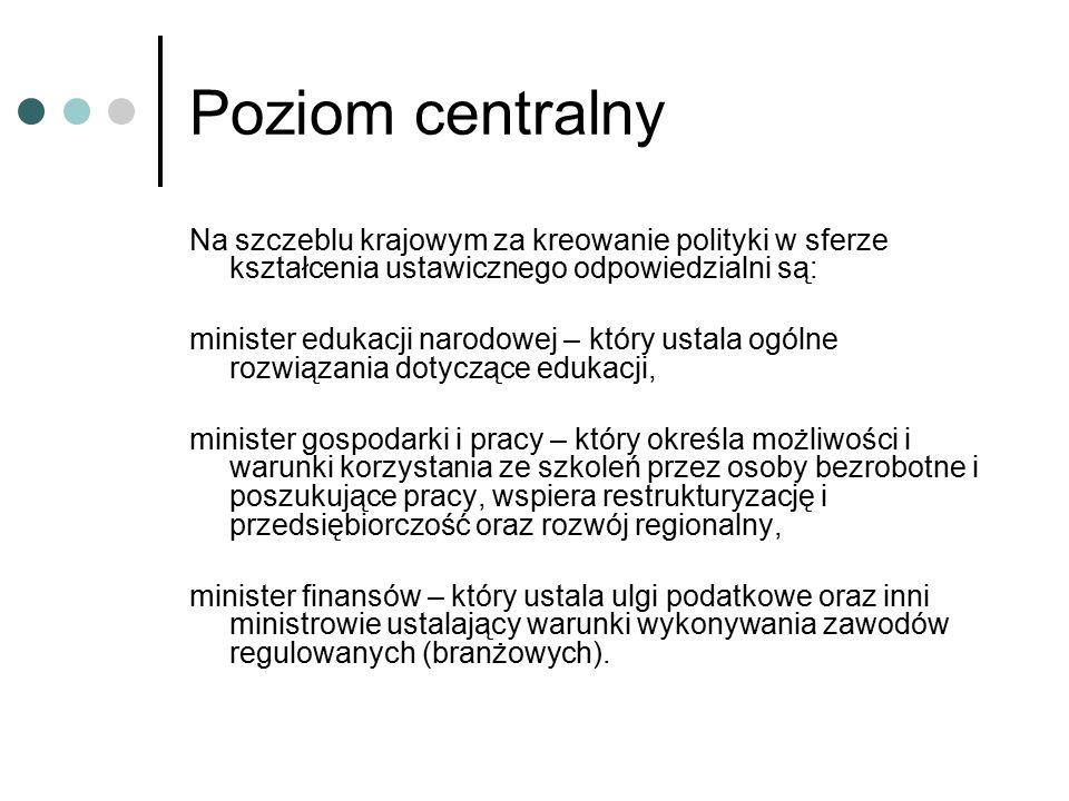 Poziom centralny Na szczeblu krajowym za kreowanie polityki w sferze kształcenia ustawicznego odpowiedzialni są: minister edukacji narodowej – który ustala ogólne rozwiązania dotyczące edukacji, minister gospodarki i pracy – który określa możliwości i warunki korzystania ze szkoleń przez osoby bezrobotne i poszukujące pracy, wspiera restrukturyzację i przedsiębiorczość oraz rozwój regionalny, minister finansów – który ustala ulgi podatkowe oraz inni ministrowie ustalający warunki wykonywania zawodów regulowanych (branżowych).