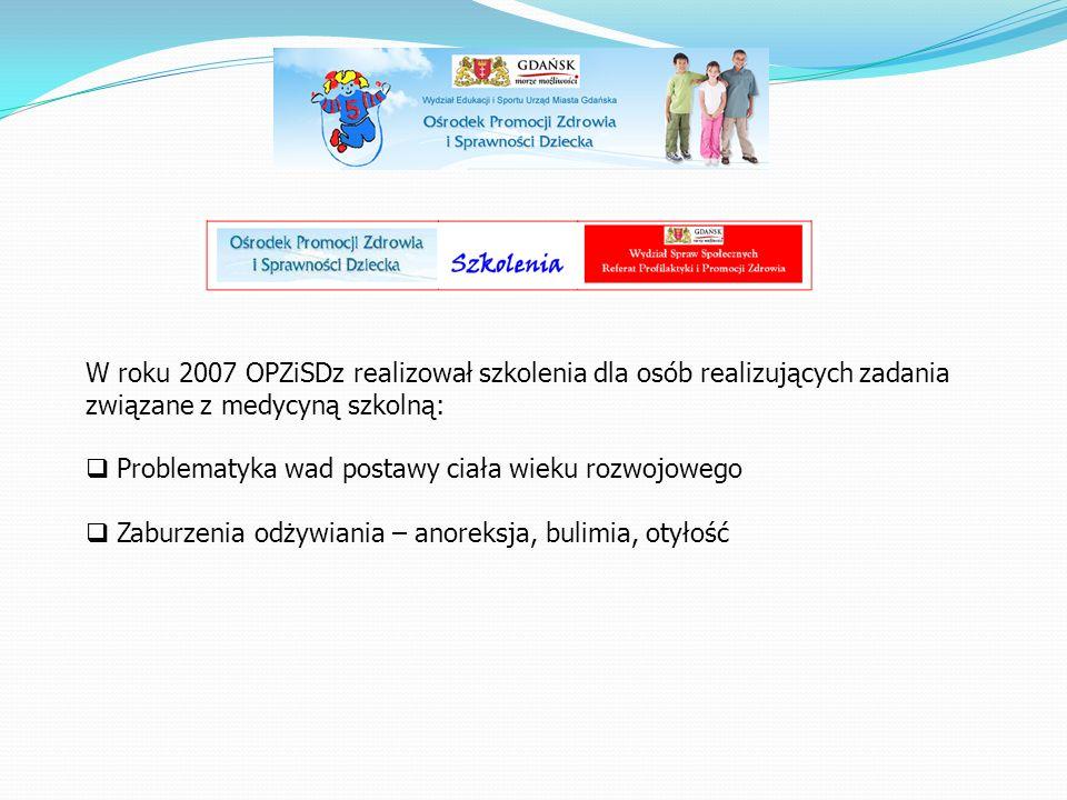 W roku 2007 OPZiSDz realizował szkolenia dla osób realizujących zadania związane z medycyną szkolną:  Problematyka wad postawy ciała wieku rozwojoweg