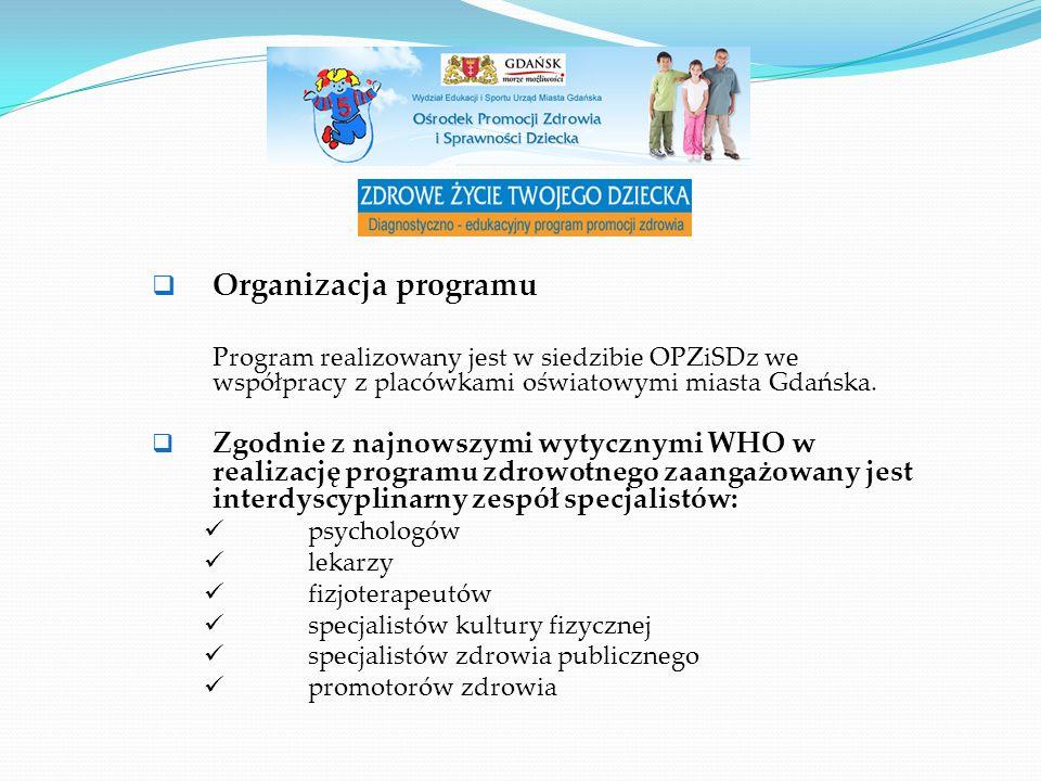 Realizacja programu: Badania realizuje się na terenie szkół podstawowych, Badania postawy ciała, masy ciała oraz wydolności fizycznej prowadzone są przez lekarzy OPZiSD, Dziennie badaniami objętych jest ok.