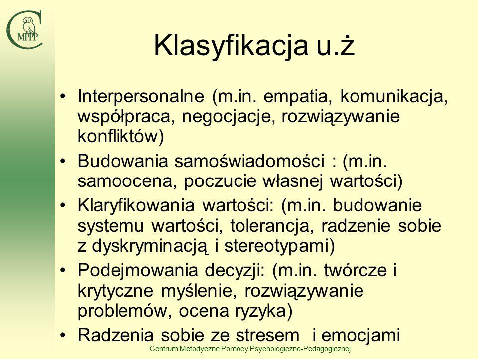 Centrum Metodyczne Pomocy Psychologiczno-Pedagogicznej Klasyfikacja u.ż Interpersonalne (m.in.