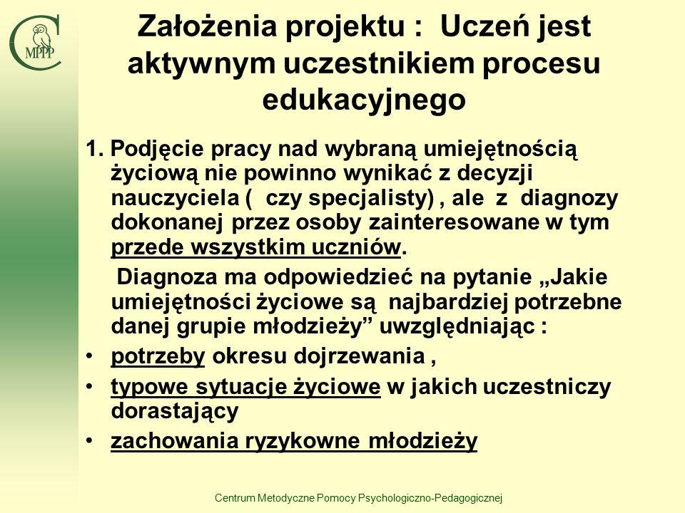 Centrum Metodyczne Pomocy Psychologiczno-Pedagogicznej Założenia projektu : Uczeń jest aktywnym uczestnikiem procesu edukacyjnego 1.