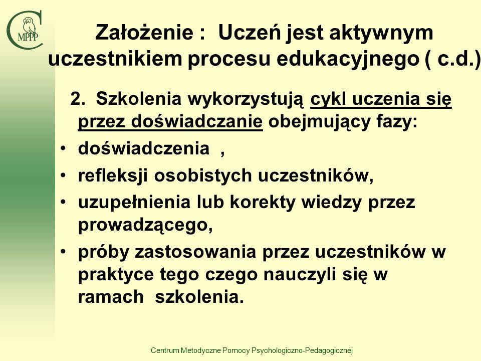 Centrum Metodyczne Pomocy Psychologiczno-Pedagogicznej Założenie : Uczeń jest aktywnym uczestnikiem procesu edukacyjnego ( c.d.) 2. Szkolenia wykorzys