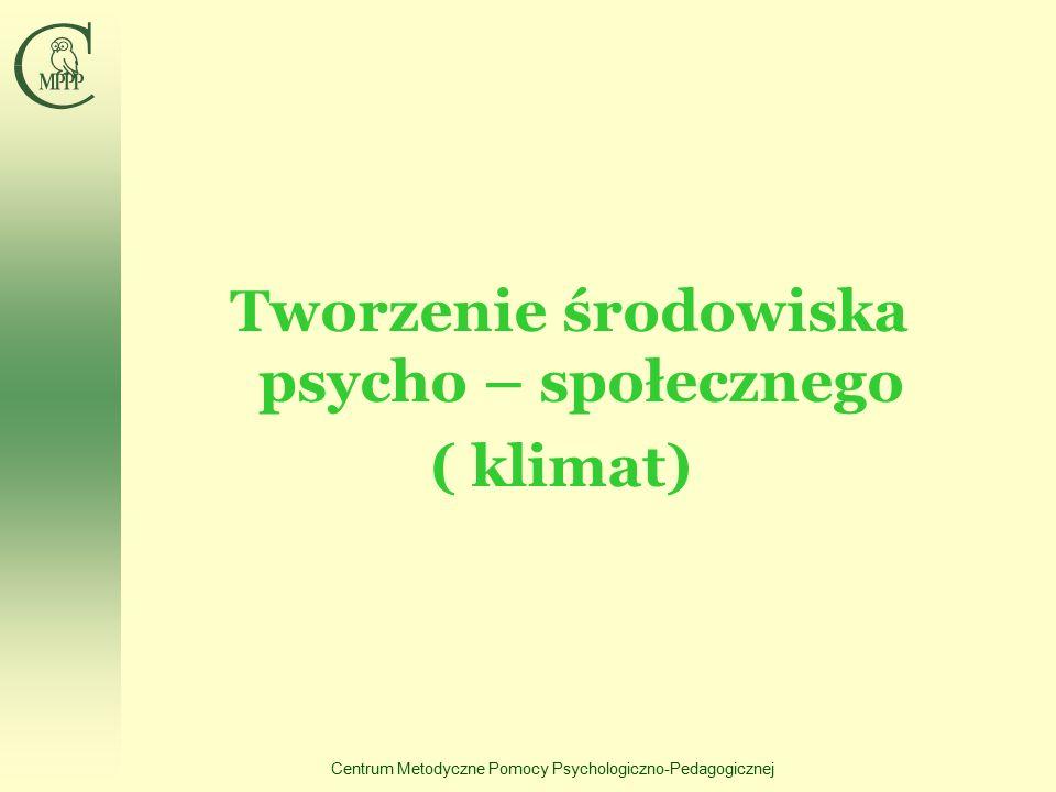 Centrum Metodyczne Pomocy Psychologiczno-Pedagogicznej Tworzenie środowiska psycho – społecznego ( klimat)