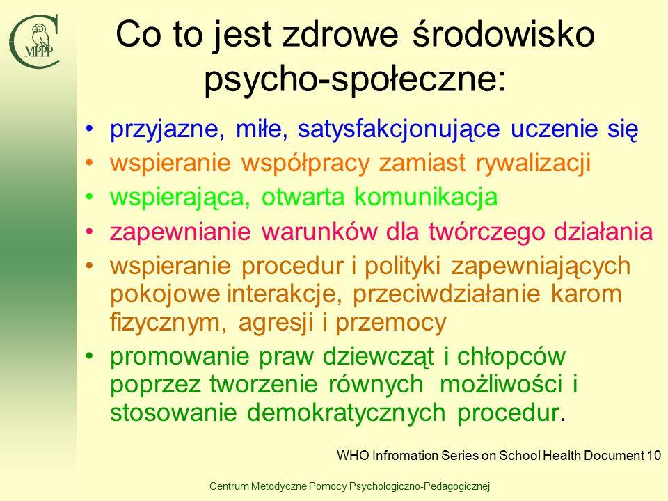 Centrum Metodyczne Pomocy Psychologiczno-Pedagogicznej Co to jest zdrowe środowisko psycho-społeczne: przyjazne, miłe, satysfakcjonujące uczenie się w