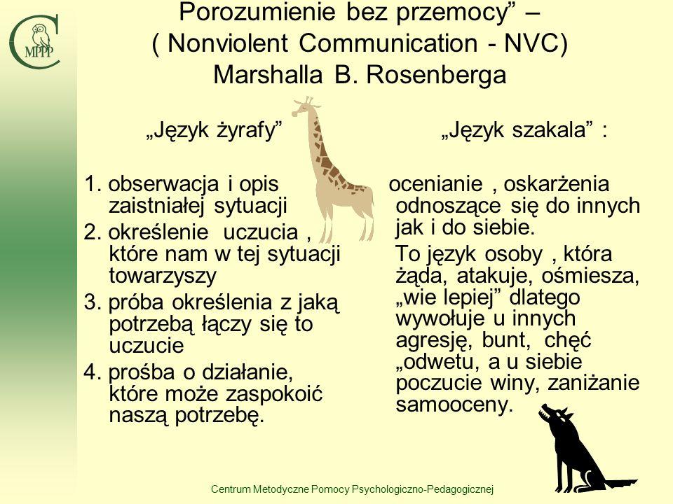 """Centrum Metodyczne Pomocy Psychologiczno-Pedagogicznej Porozumienie bez przemocy"""" – ( Nonviolent Communication - NVC) Marshalla B. Rosenberga """"Język ż"""
