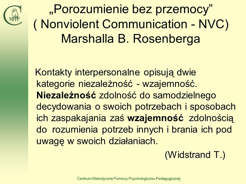 """Centrum Metodyczne Pomocy Psychologiczno-Pedagogicznej """" Porozumienie bez przemocy ( Nonviolent Communication - NVC) Marshalla B."""