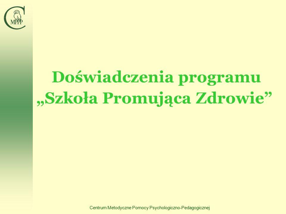 """Centrum Metodyczne Pomocy Psychologiczno-Pedagogicznej Doświadczenia programu """"Szkoła Promująca Zdrowie"""