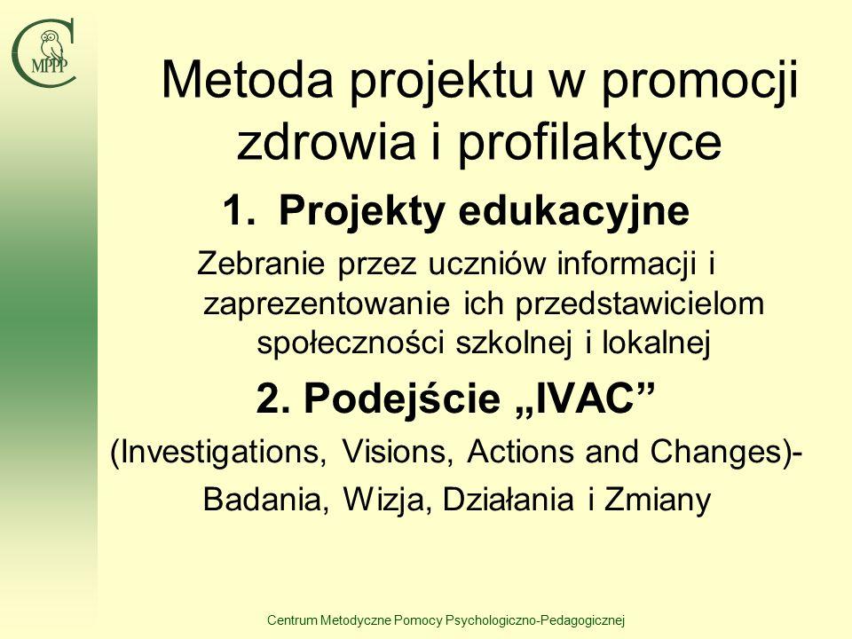 Centrum Metodyczne Pomocy Psychologiczno-Pedagogicznej Metoda projektu w promocji zdrowia i profilaktyce 1.Projekty edukacyjne Zebranie przez uczniów informacji i zaprezentowanie ich przedstawicielom społeczności szkolnej i lokalnej 2.