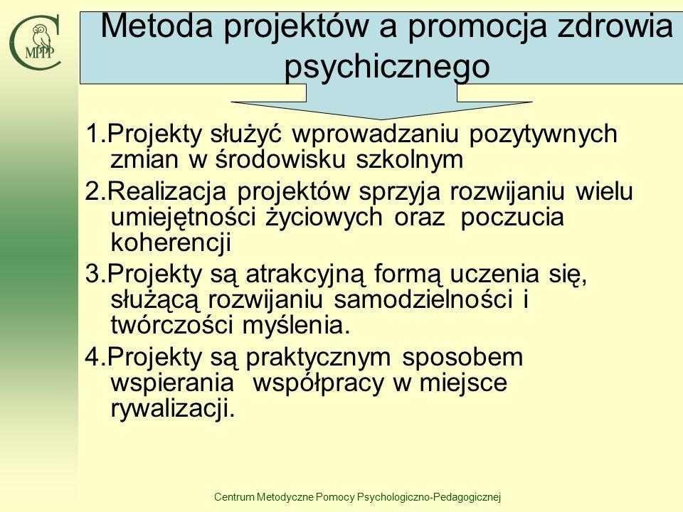 Centrum Metodyczne Pomocy Psychologiczno-Pedagogicznej 1.Projekty służyć wprowadzaniu pozytywnych zmian w środowisku szkolnym 2.Realizacja projektów s