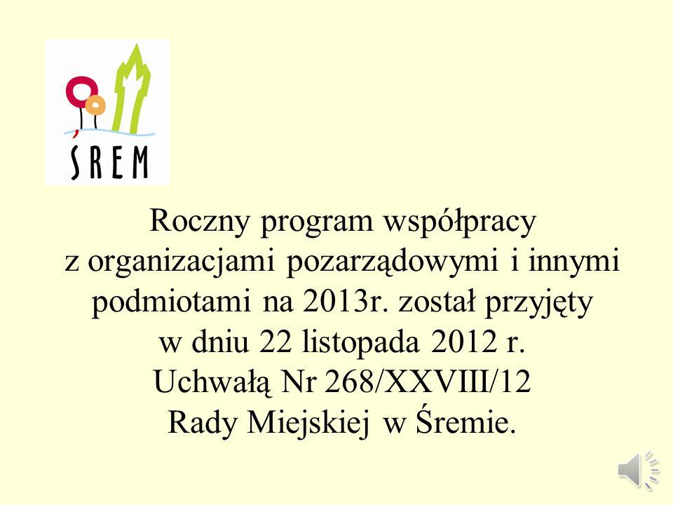 Sprawozdanie z realizacji rocznego programu współpracy z organizacjami pozarządowymi oraz innymi podmiotami w gminie Śrem w 2013 roku XLV Sesja Rady Miejskiej w Śremie Śrem 2014 rok Urząd Miejski w Śremie, Pl.20 Października 1, 63-100 Śrem tel.