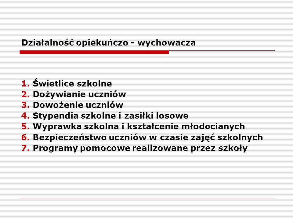 Działalność opiekuńczo - wychowacza 1. Świetlice szkolne 2.