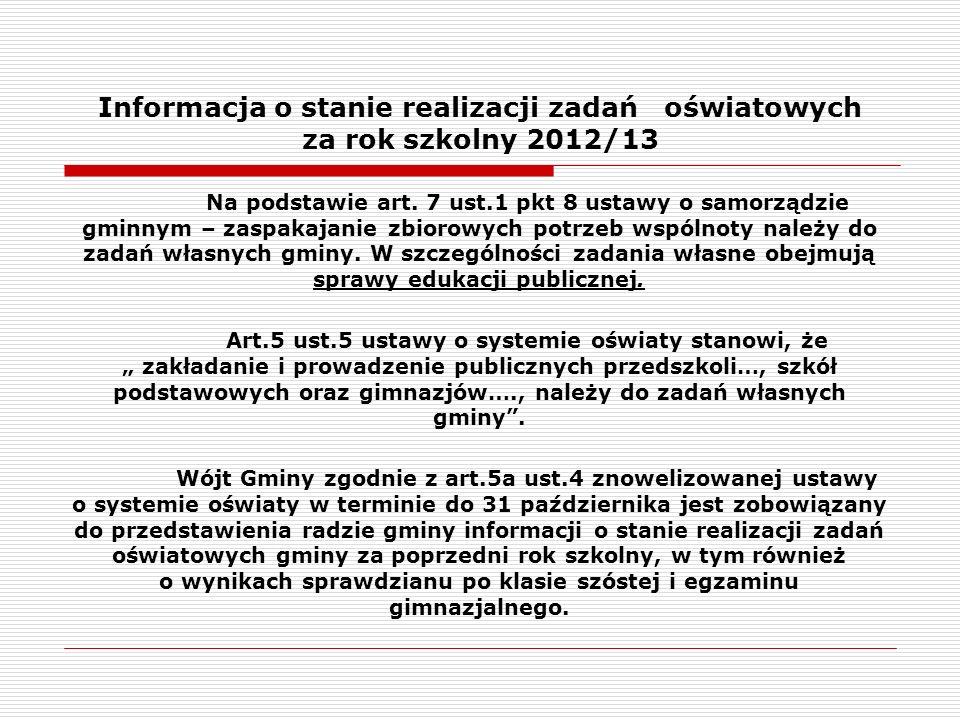 Informacja o stanie realizacji zadań oświatowych za rok szkolny 2012/13 Przedstawiona informacja o realizacji zadań oświatowych za rok szk.