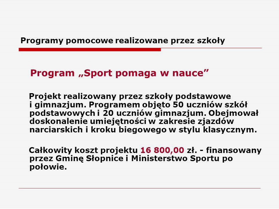 """Programy pomocowe realizowane przez szkoły Program """"Sport pomaga w nauce Projekt realizowany przez szkoły podstawowe i gimnazjum."""