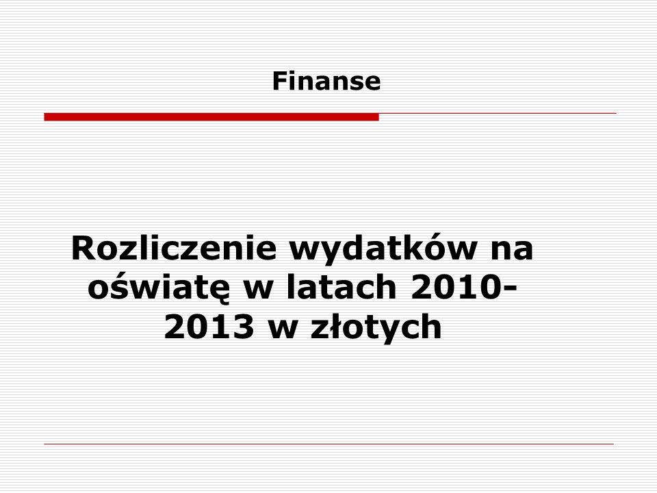 Finanse Rozliczenie wydatków na oświatę w latach 2010- 2013 w złotych