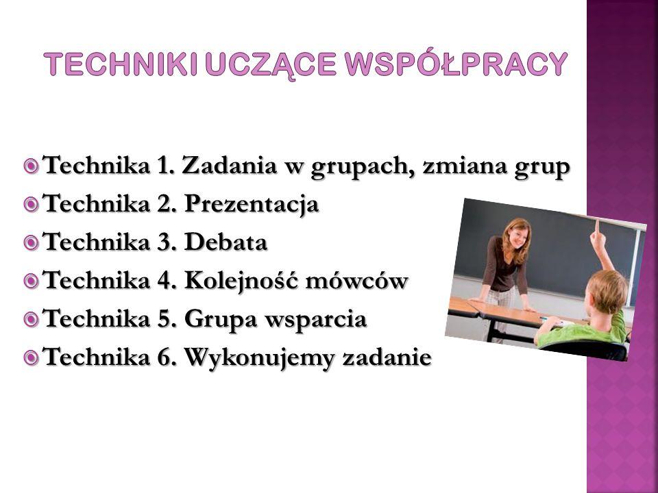  Technika 1.Zadania w grupach, zmiana grup  Technika 2.