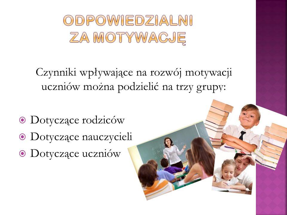 Czynniki wpływające na rozwój motywacji uczniów można podzielić na trzy grupy:  Dotyczące rodziców  Dotyczące nauczycieli  Dotyczące uczniów
