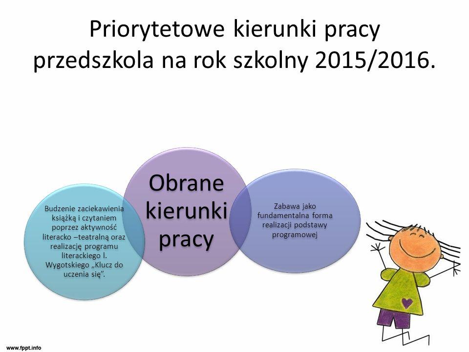 Priorytetowe kierunki pracy przedszkola na rok szkolny 2015/2016.