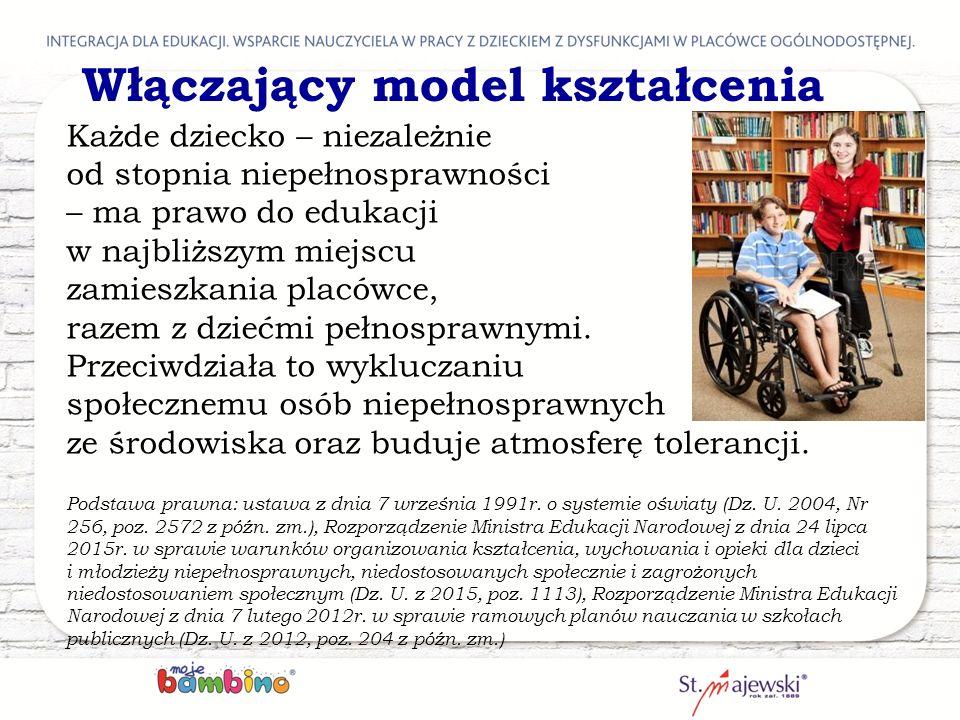 Włączający model kształcenia Każde dziecko – niezależnie od stopnia niepełnosprawności – ma prawo do edukacji w najbliższym miejscu zamieszkania placó