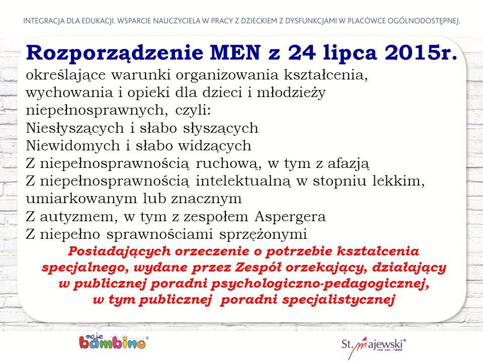 Rozporządzenie MEN z 24 lipca 2015r. określające warunki organizowania kształcenia, wychowania i opieki dla dzieci i młodzieży niepełnosprawnych, czyl