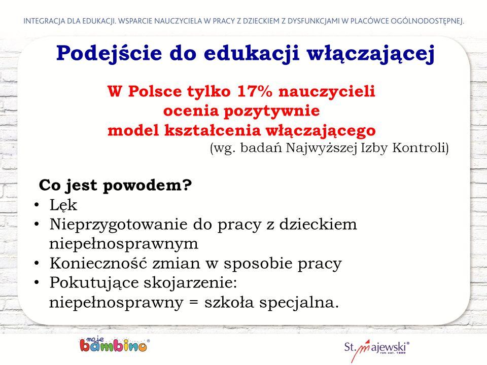 W Polsce tylko 17% nauczycieli ocenia pozytywnie model kształcenia włączającego (wg. badań Najwyższej Izby Kontroli) Co jest powodem? Lęk Nieprzygotow