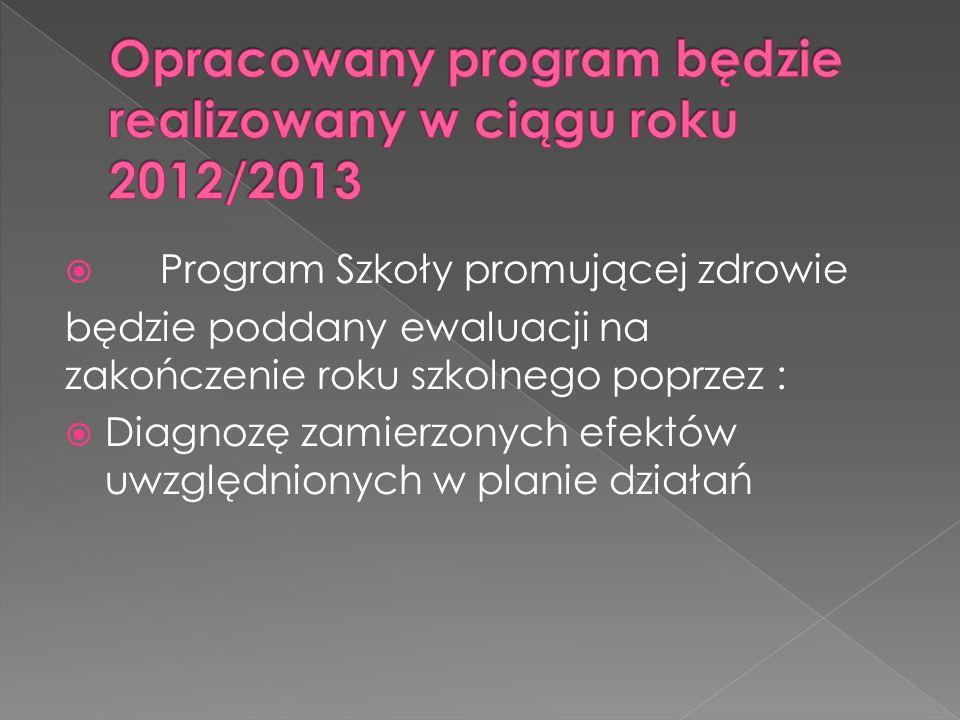 Program Szkoły promującej zdrowie będzie poddany ewaluacji na zakończenie roku szkolnego poprzez :  Diagnozę zamierzonych efektów uwzględnionych w planie działań