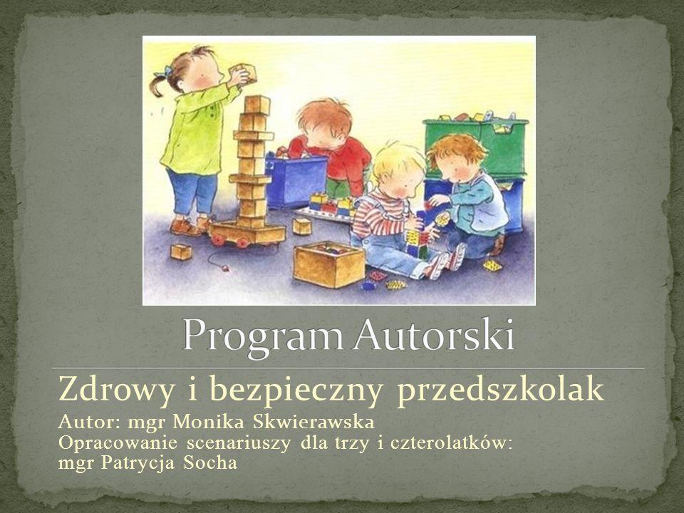 Treści programowe Proponowane scenariusze Inne formy realizacji Przedszkolak bezpieczny na sali -Częste przypominanie o przestrzeganiu zasad bezpieczeństwa podczas swobodnej zabawy i nie tylko ; odwoływanie się do wcześniej ustalonych umów - wyznaczenie dyżurnych odpowiedzialnych za porządek na sali; zwracanie uwagi na niebezpieczeństwo, wynikające z porozrzucanych na podłodze zabawek -- przypominanie dzieciom zasad bezpiecznego używania nożyczek połączone z demonstracją - wyznaczenie w sali bezpiecznego miejsca, w którym dziecko mogłoby wycinać poza zajęciami dydaktycznymi Przedszkolak bezpieczny na ulicy -wycieczka na posterunek policji - dzieci zaopatrzone w światełka odblaskowe ; omówienie bezpieczeństwa w ruchu ulicznym podczas wizyty