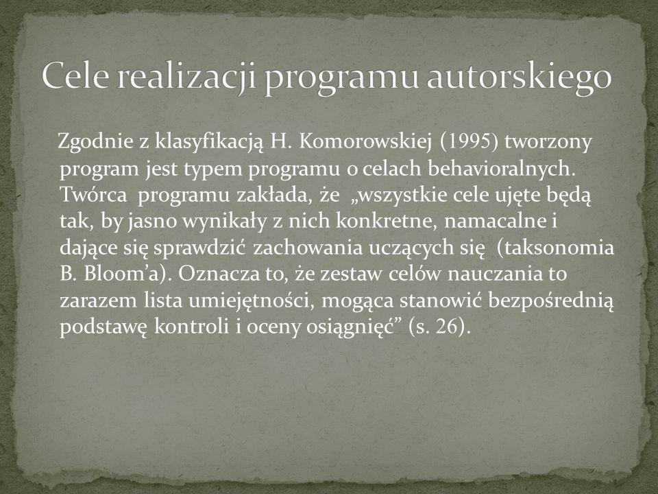 """Zgodnie z klasyfikacją H. Komorowskiej ( 1995) tworzony program jest typem programu o celach behavioralnych. Twórca programu zakłada, że """"wszystkie ce"""