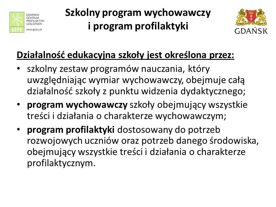 Szkolny program wychowawczy i program profilaktyki Działalność edukacyjna szkoły jest określona przez: szkolny zestaw programów nauczania, który uwzgl