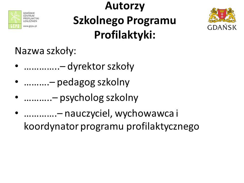 Autorzy Szkolnego Programu Profilaktyki: Nazwa szkoły: …………..– dyrektor szkoły ……….– pedagog szkolny ………..– psycholog szkolny ………….– nauczyciel, wycho