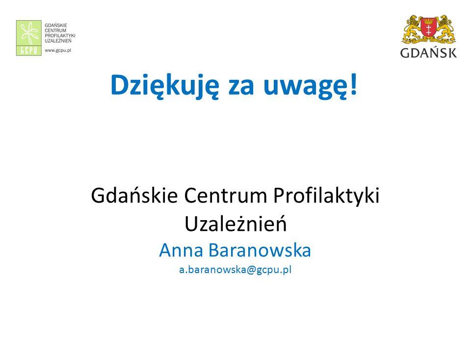 Gdańskie Centrum Profilaktyki Uzależnień Anna Baranowska a.baranowska@gcpu.pl Dziękuję za uwagę!