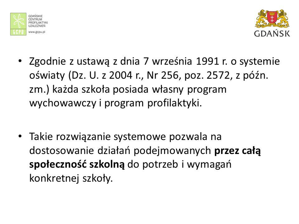 Zgodnie z ustawą z dnia 7 września 1991 r. o systemie oświaty (Dz. U. z 2004 r., Nr 256, poz. 2572, z późn. zm.) każda szkoła posiada własny program w