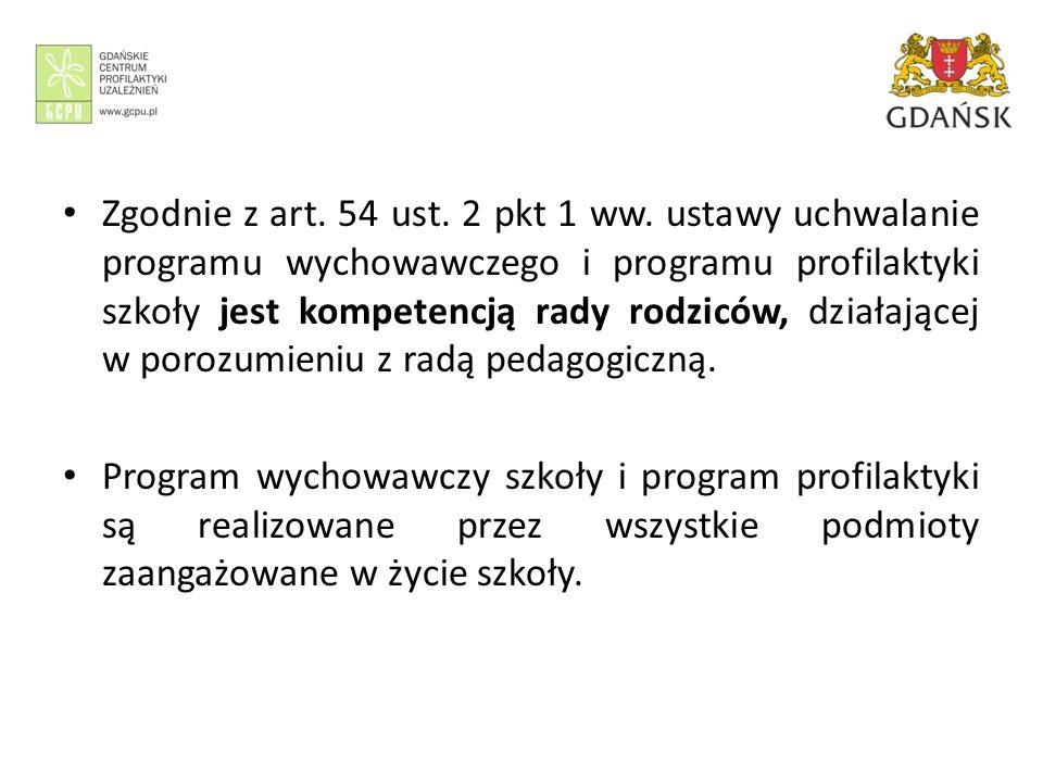 Zgodnie z art. 54 ust. 2 pkt 1 ww. ustawy uchwalanie programu wychowawczego i programu profilaktyki szkoły jest kompetencją rady rodziców, działającej